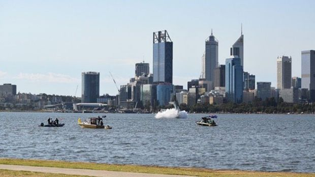 A witness captures the plane nosediving into the Swan river.