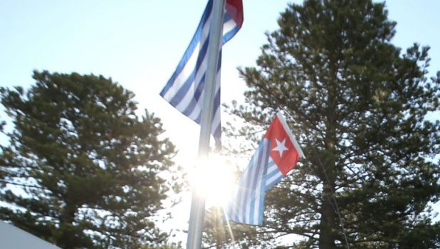 """The """"Morning Star"""" flag of West Papuan separatists, which is banned in Indonesia."""