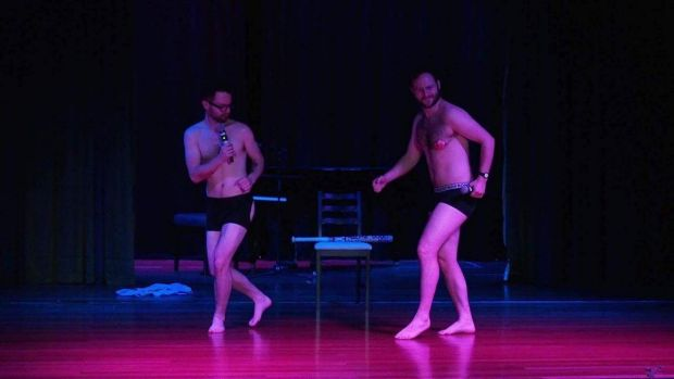 All for a laugh: the Bensley brothers live on stage at the Wollongong Workers Club in November 2016.