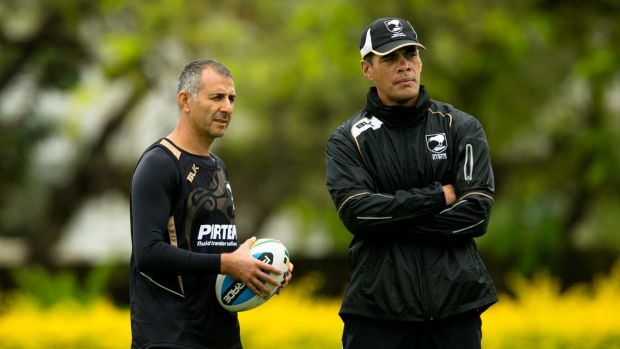 Football whisperer: Joe Wehbe (left) and Stephen Kearney during their time together with the New Zealand national team.
