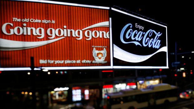 The new Kings Cross Coca-Cola sign is turned on for the first time on September 15, 2016 in Sydney, Australia.