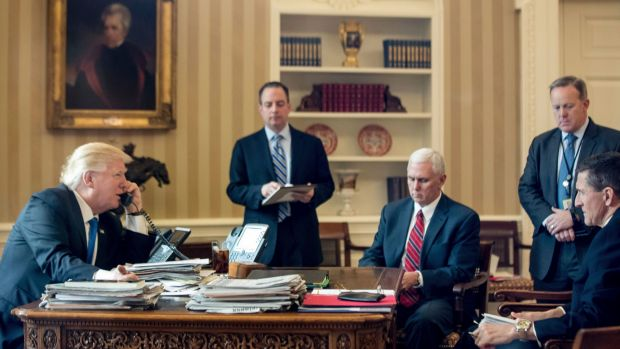 From left: US President Donald Trump, with Chief of Staff Reince Priebus, Vice-President Mike Pence, Press Secretary ...