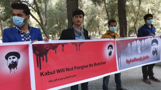 Afghan civil society activists protest the peace deal with warlord Gulbuddin Hekmatyar.