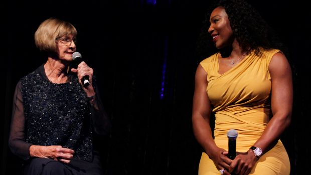 They'll never get my 64: Margaret Court, and with Serena Williams at the 2016 Hopman Cup Player Party.