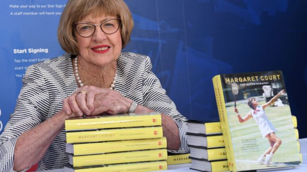 Margaret Court poses with her autobiography at the Australian Open in January.