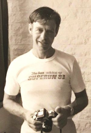 Nicole's father Maurice Allen pictured in his running shirt in 1983. He took his life four years later in November 1987.