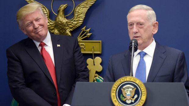 Defence Secretary Jim Mattis, right, is seen as a bulwark against President Donald Trump's potential adventurism.