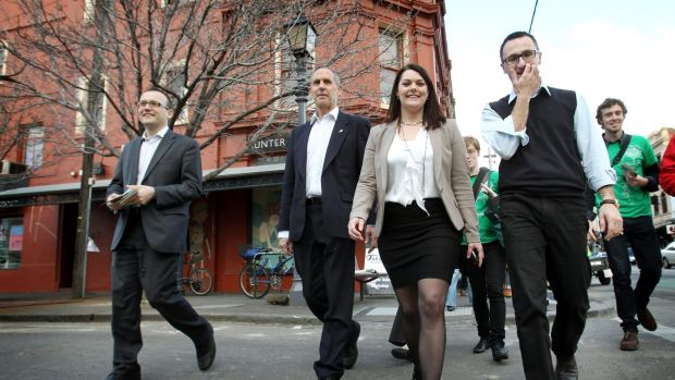 Greens rally in Fitzroy in July 2016 ahead of Saturday's Federal election- Bob Brown, Sarah Hanson Young, Adam Bandt ...