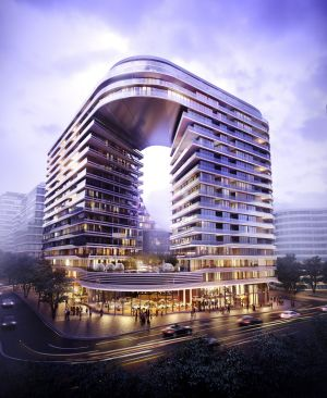 Artist's impression of Sunito's Infinity development in southern Sydney's Green Square, designed by Koichi Takada.