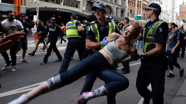Five people were arrested as police moved to remove the homeless people from Flinders Street on Wednesday.