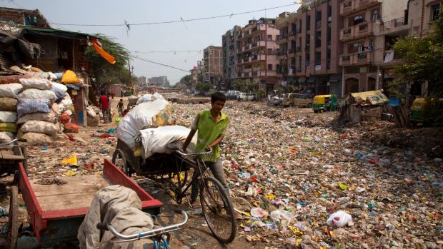 A rag picker pulls his rickshaw along an open drain filled with plastic and stagnant water which act as a breeding ...