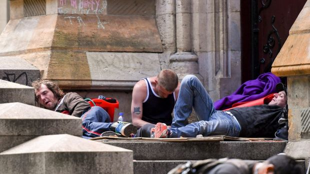Some of the homeless people who were moved on from Flinders Street are now camped at St Paul's Cathedral.