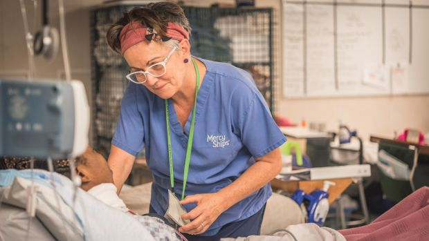 Canberra intensive care nurse Therese Knight during a shift in B ward.