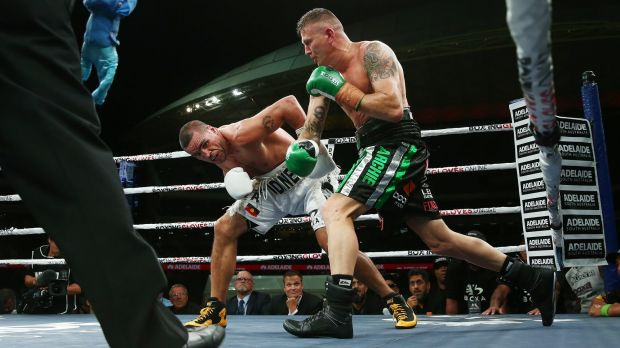 Anthony Mundine and Danny Green during their cruiserweight bout at Adelaide Oval on Friday night.