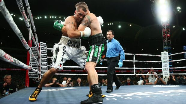 Anthony Mundine and Danny Green fight during their cruiserweight bout at Adelaide Oval.