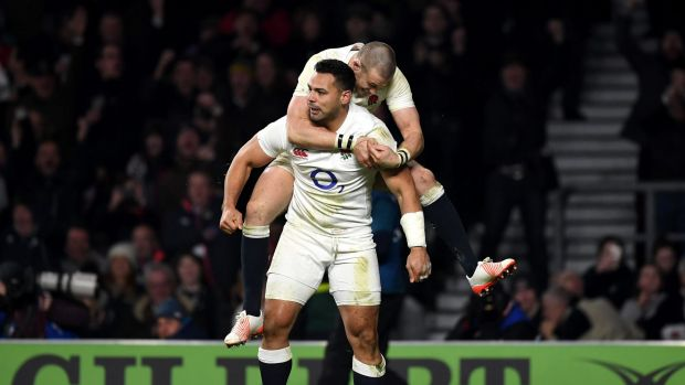 Impact player: Former NRL star Ben Te'o celebrates a try for England.