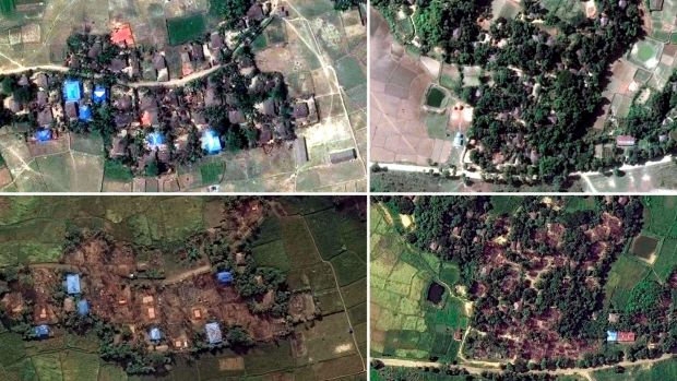 Handout satellite images of two villages in Rakhine state, Myanmar, before and after they were destroyed: Kyet Yoe Pyin ...