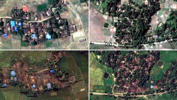 Two villages in Rakhine state, Myanmar, before and after they were destroyed: Kyet Yoe Pyin is shown at left in March ...