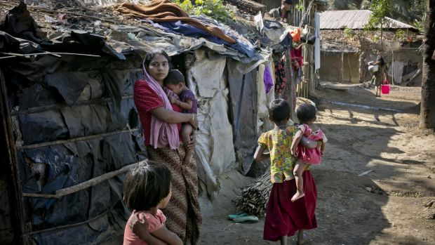 The Kutapalong Rohingya refugee camp  in Cox's Bazar, Bangladesh. More than 65,000 Rohingya have fled across the ...
