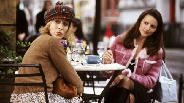 Sarah Jessica Parker, who plays Carrie, left, and Kristin Davis, who plays Charlotte, in a scene from <i>Sex and the ...