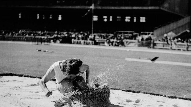 Decima Norman in the long jump competition at the 1938 Empire Games. The Western Australian won five gold medals when ...