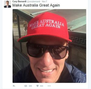 The Trumpesque photo Cory Bernardi posted while on secondment to the UN.
