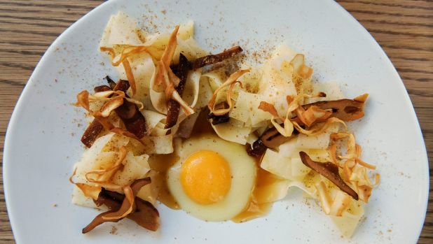 Dishes such as parsnip parpadelle, egg yolk and pine mushrooms feature on Yellow's vegetable-dominant menu.