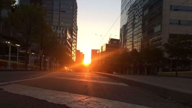 A view of Melbourne Henge from Collins Street on Tuesday night.