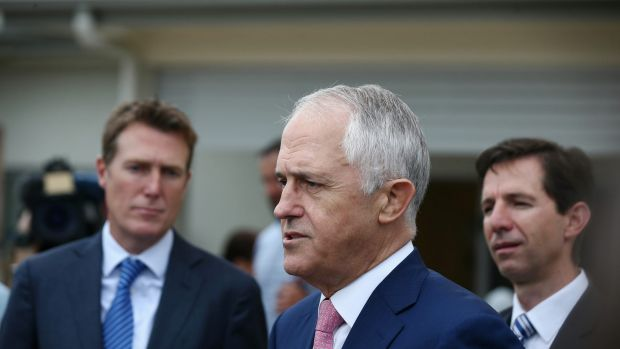 Prime Minister Malcolm Turnbull, Minister for Social Services Christian Porter and Minister for Education and Training ...