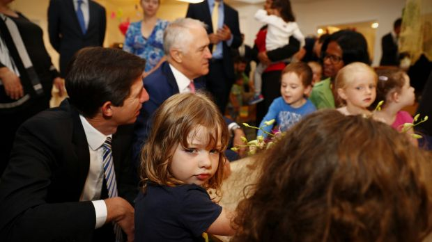 Prime Minister Malcolm Turnbull during a visit to the Crace Early Learning Centre in Canberra.