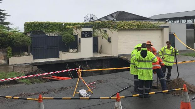 Four houses have been evacuated after the ground collapsed in Point Piper on Wednesday morning.