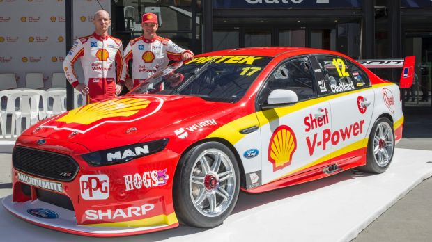 Star DJR Team Penske signing Scott McLaughlin and his endurance race co-driver Alex Premat with their new-look Falcon at ...