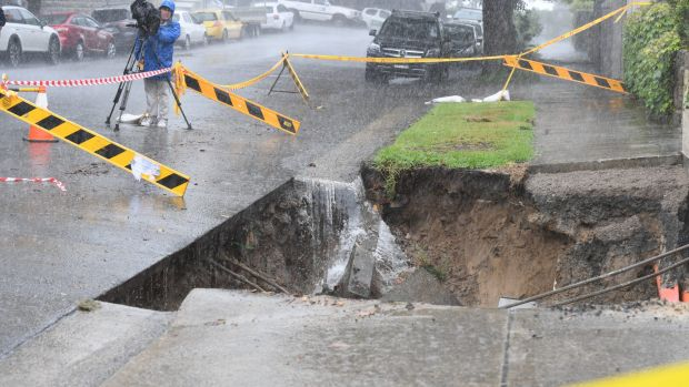 Big rains this week left a trail of destruction in Sydney, including in Point Piper, where a sinkhole opened up on Wednesday.