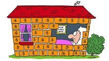 040831 SMH MONEY ILLUSTRATION BY SHAKESPEARE HOME SWEET HOME MONEY BRICKS
