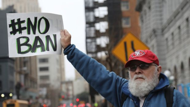 A protester outside the US Court of Appeals for the Ninth Circuit in San Francisco.