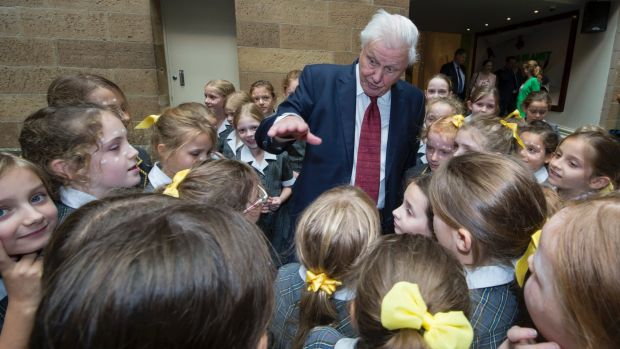 David Attenborough with Sydney schoolchildren at the Australian Museum, where he was made a Lifetime Patron