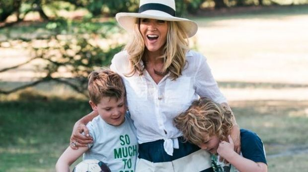 Jacinta Tynan with her two boys.