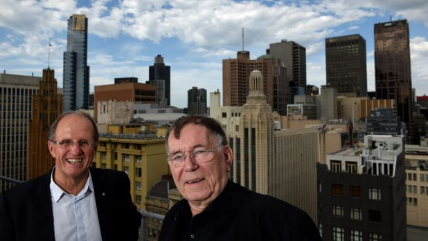Melbourne City Council's design director Rob Adams, left, with Danish architect and urban designer Jan Gehl on Thursday.