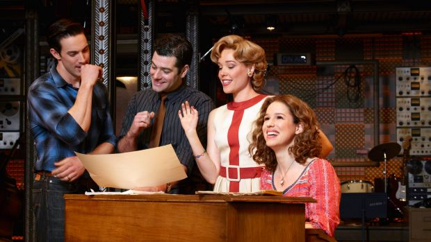 The Broadway cast of <i>Beautiful: The Carole King Musical</i>, which traces the singer-songwriter's career.