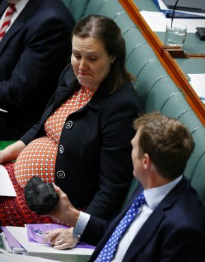 Kelly O'Dwyer, Minister for Revenue and Financial Services, was apparently less keen to hold the lump of coal proffered ...