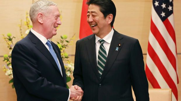 US Defence Secretary Jim Mattis (left) had a message of reassurance when he met Japanese Prime Minister Shinzo Abe in ...