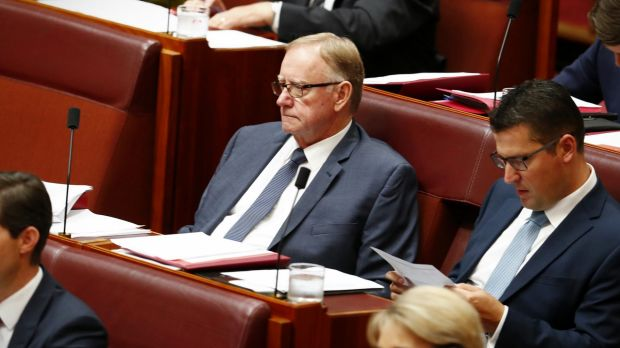 Gold Pass meltdown: Senator Ian Macdonald during question time in the Senate at Parliament House.