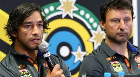 """""""They will want to honour him with their performance"""": Laurie Daley, right, on Johnathan Thurston."""