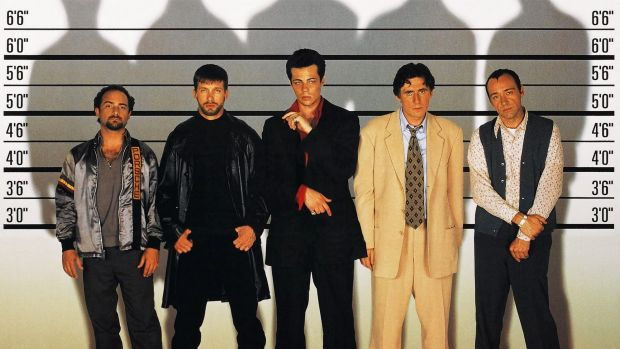 Byrne and Spacey (far right) with Kevin Pollak, Stephen Baldwin and Benicio del Toro in The Usual Suspects.
