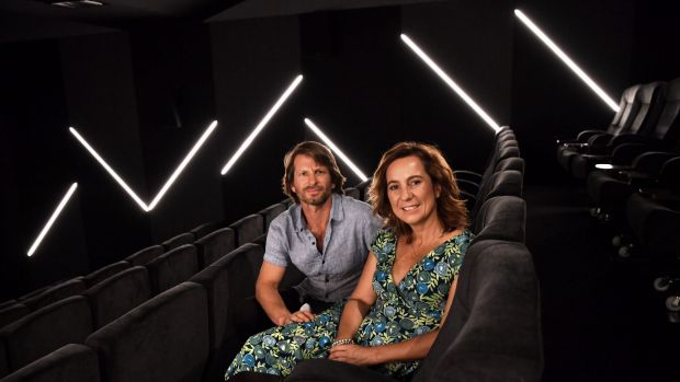 Shane Thatcher and Sonya Stephen, creators of the Choovie app, at the Lido Cinema in Hawthorn.