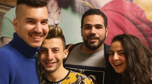From left: Gay Syrian refugees Steve, Auz and Enana, with Egyptian Moe (second from right), in Berlin, Germany, are ...