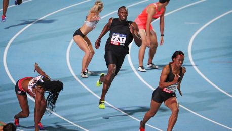 Usain Bolt competes in a mixed relay during the 2017 Nitro Athletics Series at Lakeside Stadium in Melbourne in ...