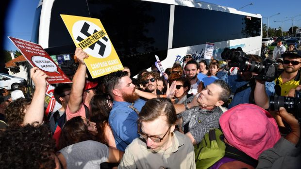 Anti-racist activists stop Q Society members boarding a bus at St Kilda Marina.