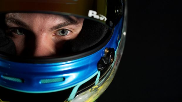 Alex Rullo, driver of the LD Motorsports Holden Commodore VF, during a portrait session at the 2017 Supercars media day.
