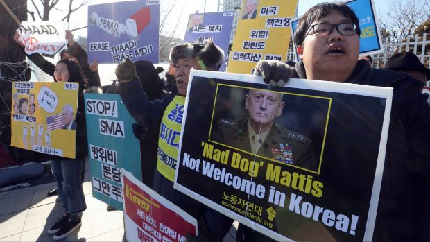 South Korean protesters stage a rally against the visiting US Defence Secretary James Mattis in Seoul earlier this month.